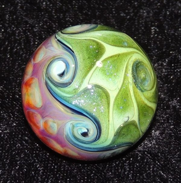 1.2 Handmade glass marble by Joshuah Justice by Justiceglassworks, $50.00