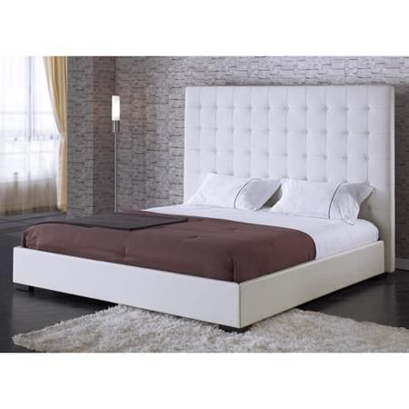 Delano White Leather Platform Bed with Tufted Headboard - I really want a white tufted headboard for my future home!!!