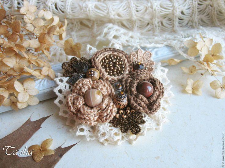 """Купить """"Шоколад с орехами"""" брошь бохо коричневый цветок - брошь, брошь ручной работы boho chic boho jewelry boho brooch brooch textile"""