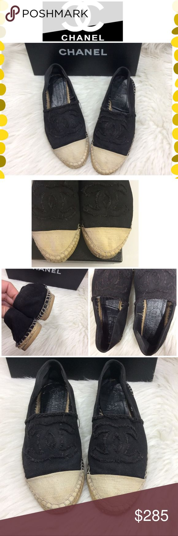 Authentic Chanel Espadrilles Authentic Chanel Espadrilles in black and off white. Preowned condition. They show wear throughout. The soles were re-done due to wear. The canvas shows discoloration and dirt. Could get either cleaned well or painted for better appearance. The shoes are super comfy and stylish.. with some care they would go a long way. Please view all pictures carefully. Original box included. Reposhed due to sizing. They're size 39 but run like a size 8 CHANEL Shoes Espadrilles