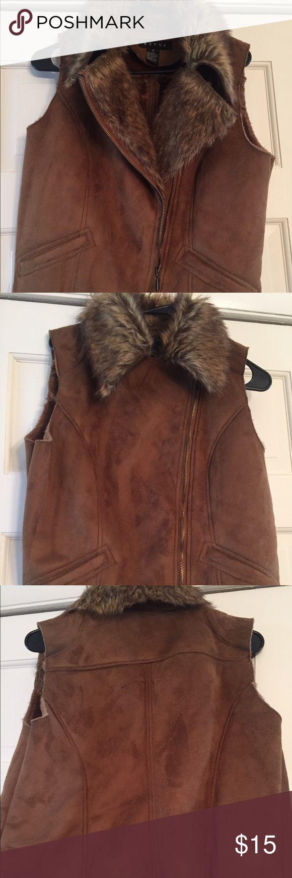Suede brown vest Women's brown suede zipper vest - worn once Jackets & Coats Vests