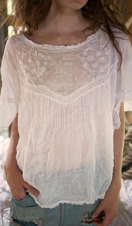 Magnolia Pearl yoke peasant blouse