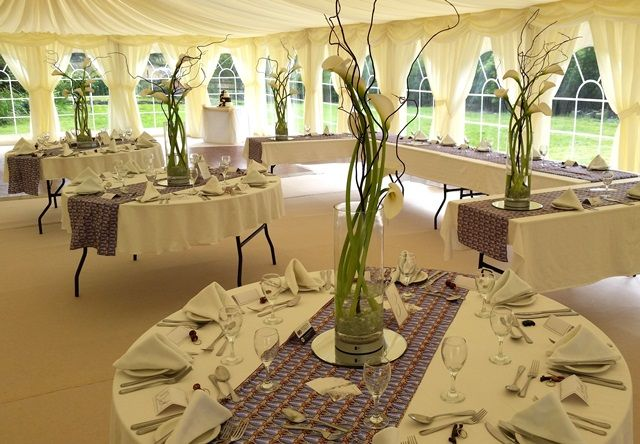 Lovely Tall #wedding #table #centrepieces With White #calla #lilies And #twistedwillow Stood On