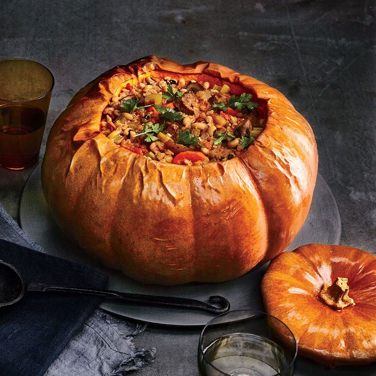 Sure to be a centerpiece dish at your next fall gathering, this pumpkin-centric recipe is just the right size for a crowd. In this meal, pumpkin plays a triple role: cooking vessel, serving bowl, and part of the meal itself. Choose a Long Island Cheese pumpkin for its creamy flesh or a Cinderella pumpkin. The hearty stew, filled with farro and veggies, simmers inside the pumpkin while the flesh cooks and softens. Berbere, a peppery Ethiopian spice blend, richly seasons the pumpkin and stew…