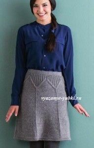 теплая вязаная юбка годе спицами с фигурной кокеткой