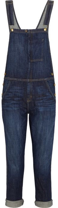 $350, Current/Elliott The Ranchhand Stretch Denim Overalls. Sold by NET-A-PORTER.COM. Click for more info: https://lookastic.com/women/shop_items/28231/redirect