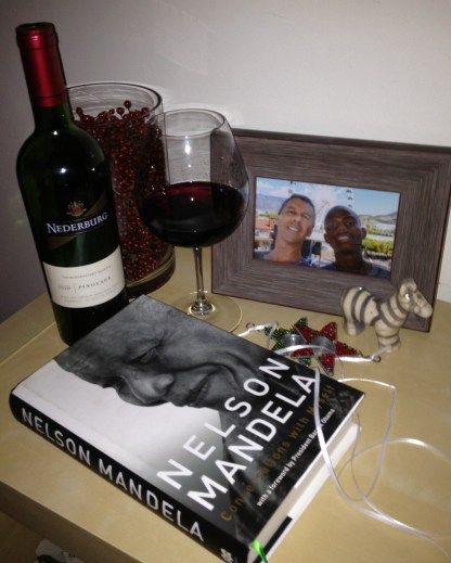 """A South Africa pinotage toast to Nelson Mandela -- who's life journey indirectly brought my """"son"""" into my life."""