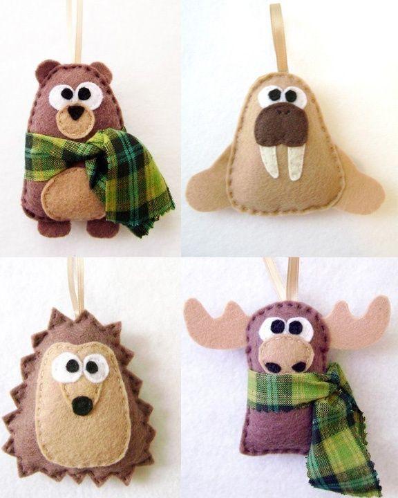 Woodland animal Felt ornaments beaver, walrus, hedgehog moose