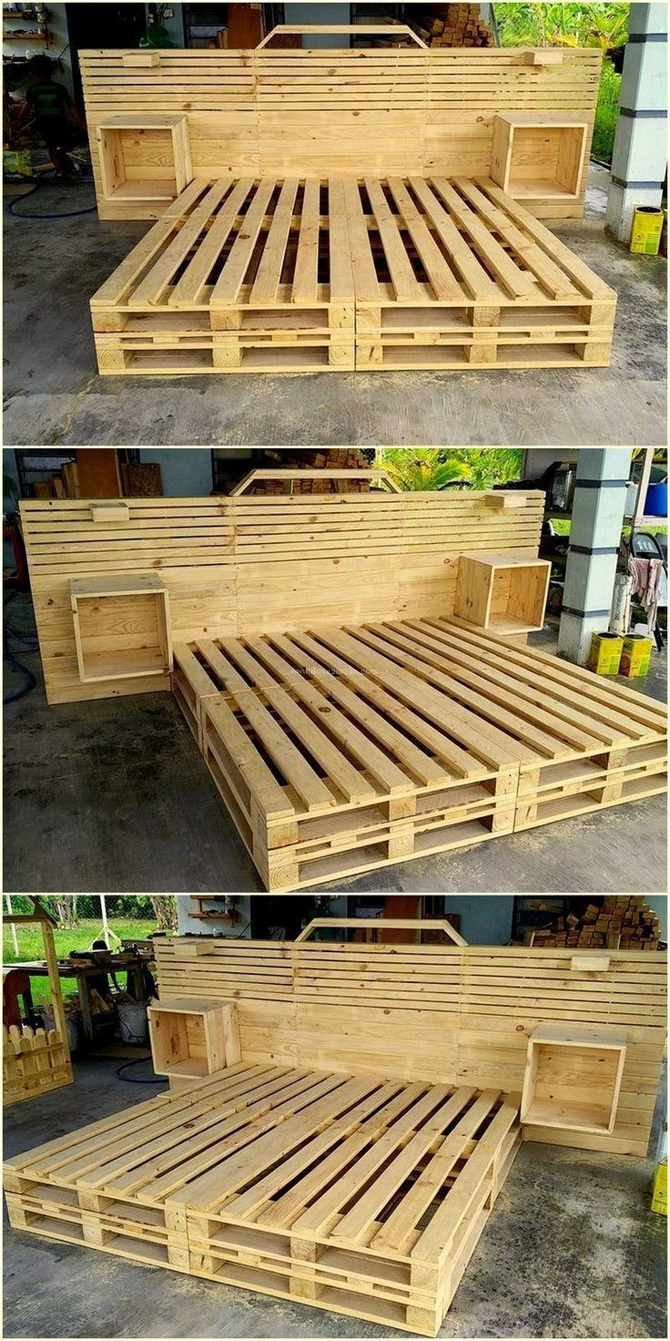 very beautiful pallet wooden bed made by azizu #palletfurniturebeds