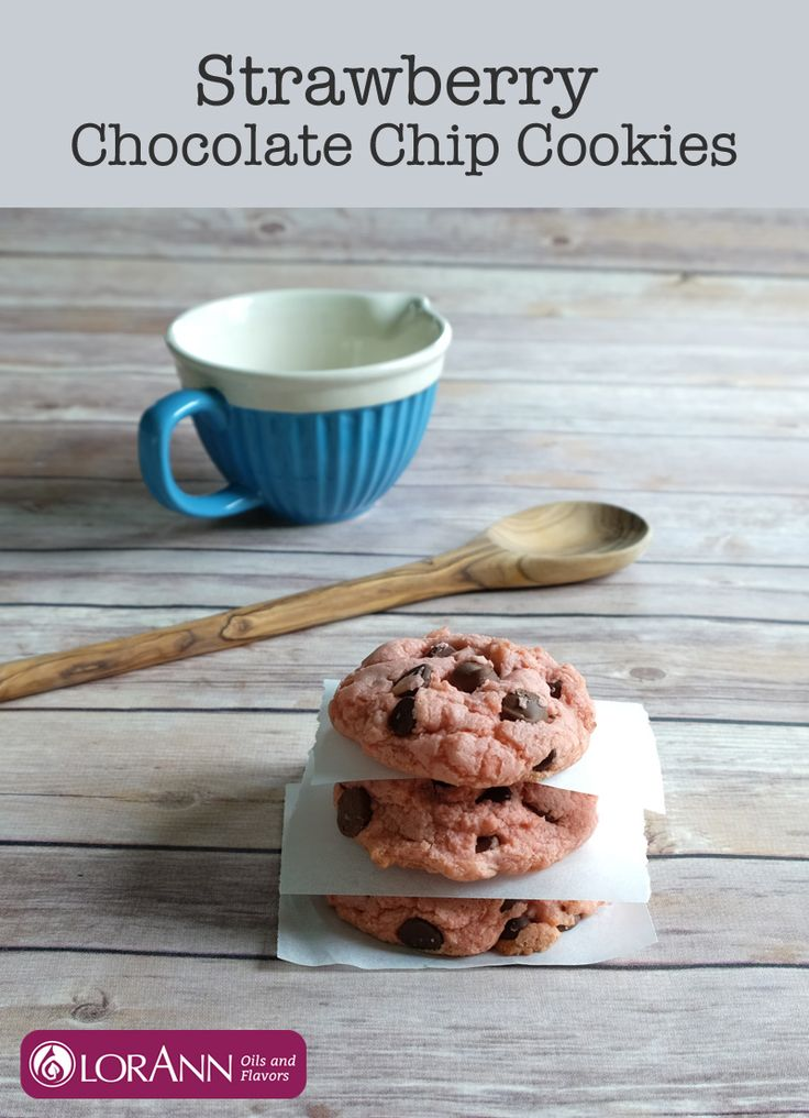 Strawberry Chocolate Chip Cookie recipe   LorAnn Oils  - these pink cookies get their delicious strawberry flavor from our Strawberry Bakery Emulsion - not from a cake mix!