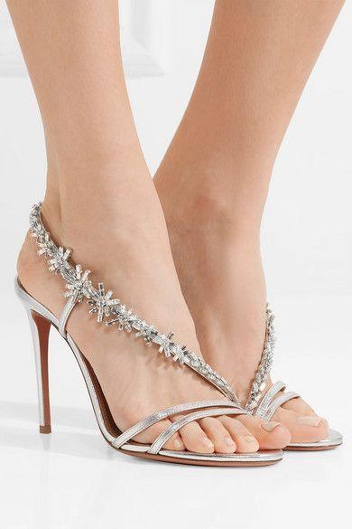 f16ed096d7b8 Aquazzura - Chateau crystal-embellished metallic leather sandals ...