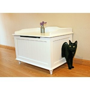 Designer Catbox Litter Box Enclosure in White. Found in amazon or could be made. Not that we're getting a pet or anything...