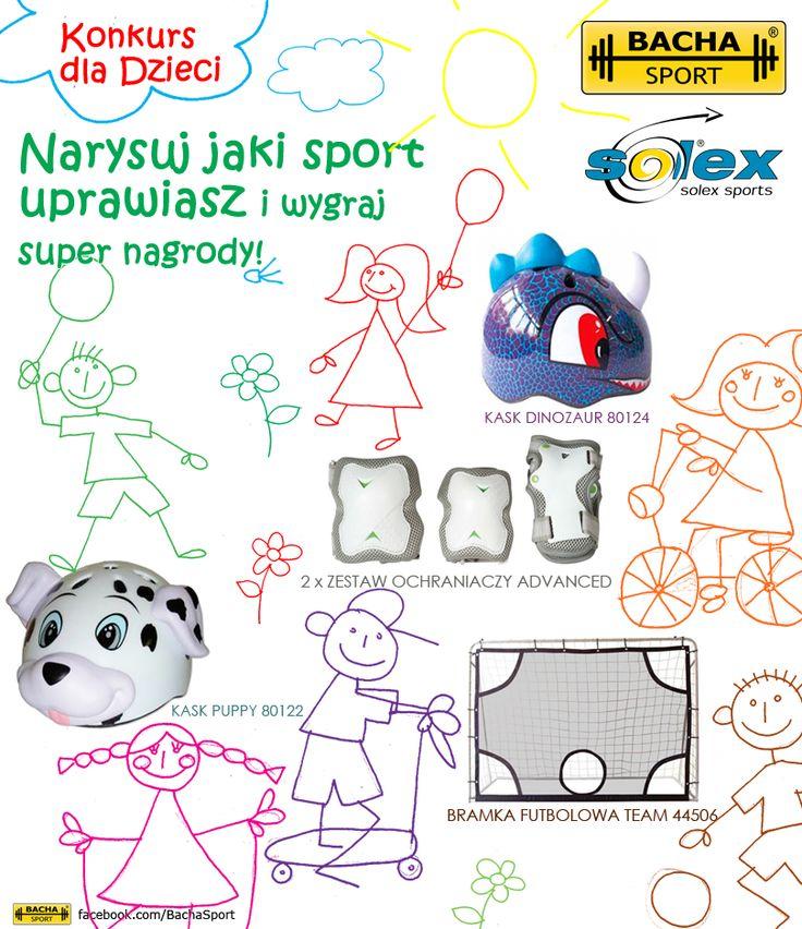 Konkurs dla dzieci promujący sport.    Drodzy rodzice, śpieszcie poinformować pociechy, że z okazji ich święta zorganizowaliśmy konkurs rysunkowy!  http://bachasport.pl/wiadomosci/271-konkurs-dla-dzieci-promujący-sport    Do wygrania Bramka futbolowa, Kaski dziecięce oraz Zestawy ochraniaczy marki Solex Sports!  https://www.facebook.com/media/set/?set=a.10151630541138944.1073741834.346482258943=1