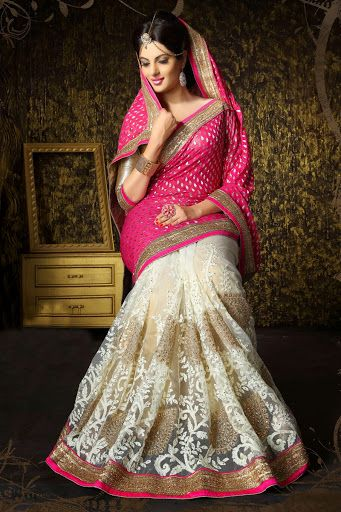 #Pink #White Net Saree with Blouse