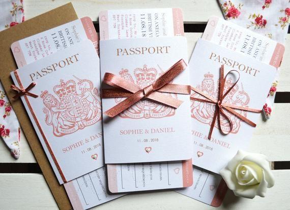 Invitation de mariage pour passeport avec étincelle en or rose ÉCHANTILLON, carte d'embarquement RSVP, mariage à destination, invitation pour un billet – Hawaii wedding