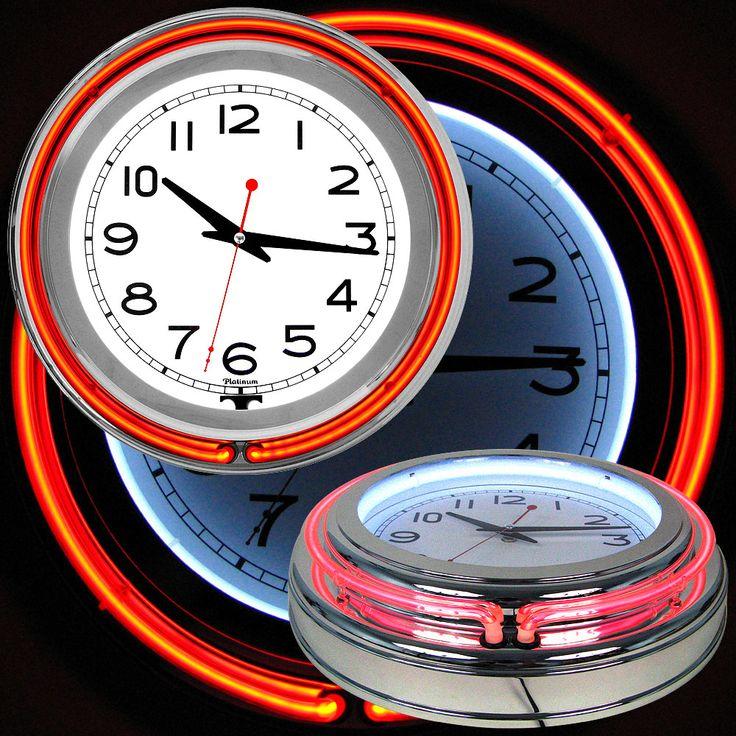 Retro Neon Wall Clock Battery Operated Wall Clock