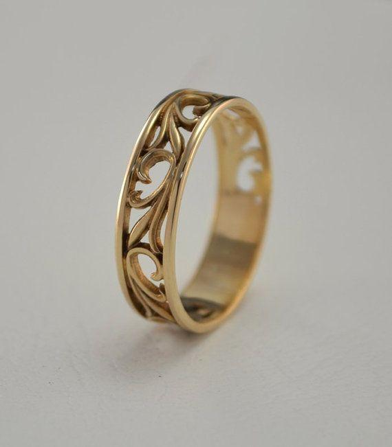 Nature wedding band, Leaves wedding ring, Vintage style wedding ring, Yellow gold ring, Custom wedding ring, Unique wedding band