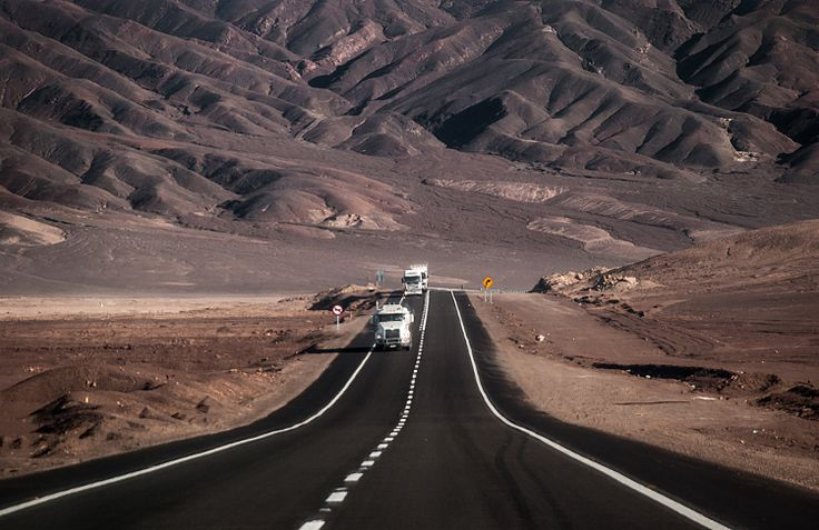 The Pan-American HIghway as it travels through the Atacama Desert, Chile. #lpPanAm | TO GET A SENSE OF THE ENTIRE P.A.H ROUTE CLICK THROUGH VIA THIS PIN TO FIND OUT MORE ON LONELPLANET.COM