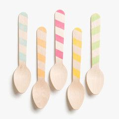 Wooden Striped Ice Cream Spoons. $8