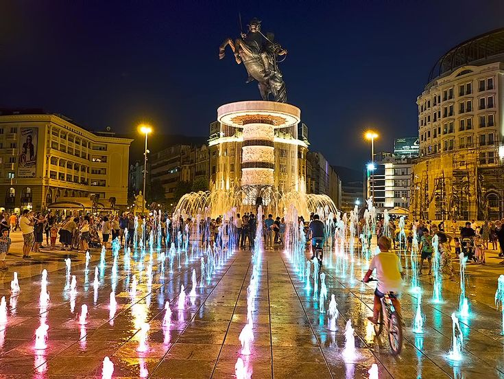 """Centerpiece of Skopje, Macedonia is Macedonia Square, dominated by the """"Warrior on a Horse"""" statue and fountain. Though meant to depict Alexander the Great, the sculpture is not named for him, due to an ongoing dispute with Greece over cultural claims on such historical figures."""