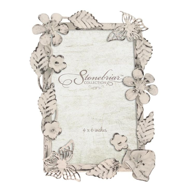 4 in. x 6 in. Worn White Ornate Floral Metal Picture Frame