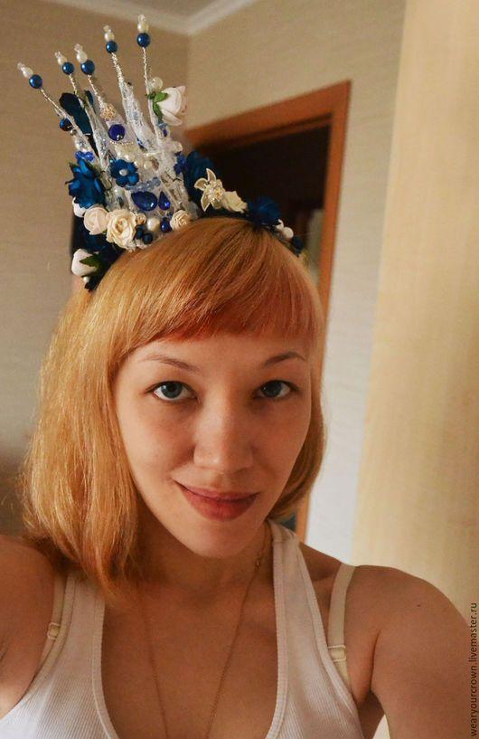 Цветочная корона Большая для девушки. Свадебная корона. Корона синего цвета. Корона в цветах.