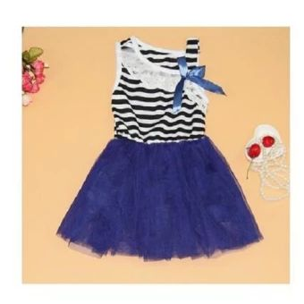 จัดส่งฟรี  2016 Summe Fashion Baby Girl Dress Lace Cotton Stripe For 1-5Y DeepBlue  ราคาเพียง  129 บาท  เท่านั้น คุณสมบัติ มีดังนี้ Deep Blue Dress Sleeveless Imported Lace and Cotton For Party and Wedding For 1Y-5Y Girls Strip Tops Soft
