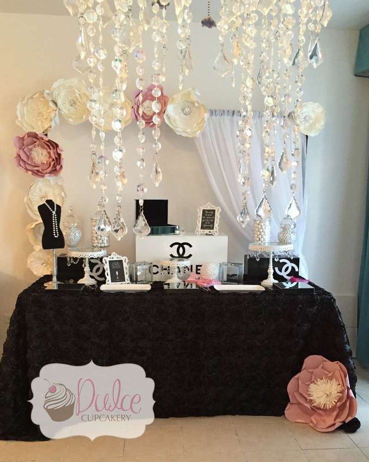 Gorgeous dessert table at a Chanel birthday party! See more party planning ideas at CatchMyParty.com!