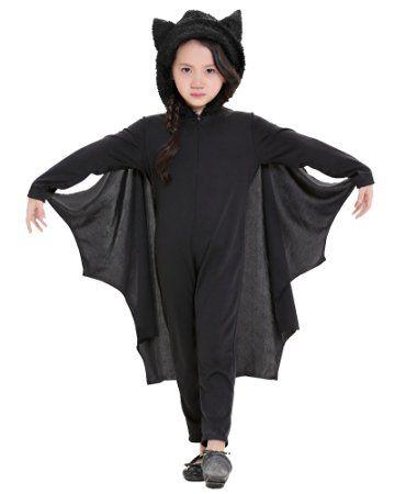 LaoZan Costumi di Halloween per bambina Pipistrello costume per Halloween Cosplay XL Nero