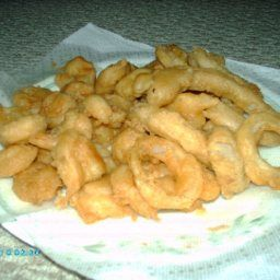 This recipe makes the best fry batter for almost any fish, chicken veggies, onion rings etc.. tastes great and holds well, some people prefer top to toss the onion rings in a littler flour prior to coating - Carey's Beer Batter For Fish, Shrimp & Onion Rings