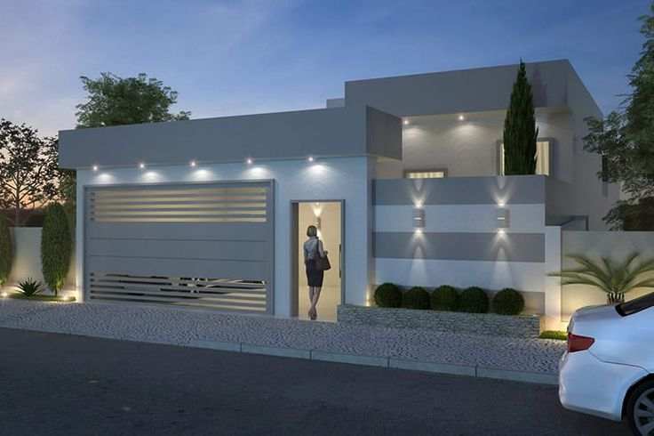 Plano de casa moderna de un piso