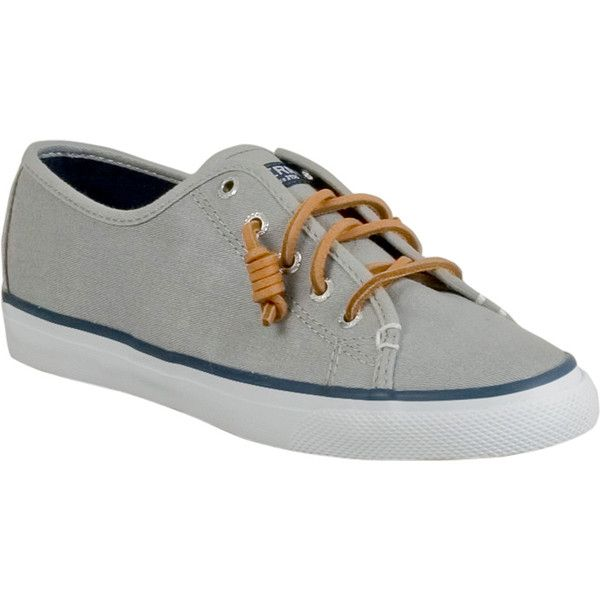 Sperry Seacoast Women's Boat Shoe Loafer ($60) ❤ liked on Polyvore featuring shoes, loafers, grey, sperry topsiders, sperry loafers, loafers moccasins, lace shoes and gray loafers