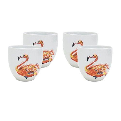 Kleurrijk koffiekopje met handgeschilderde flamingo illustratie van Catchii. Het servies is gemaakt van kwalitatief porselein.