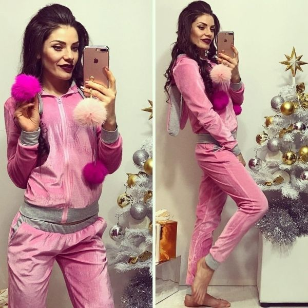 Модный женский велюровый спортивный костюм с натуральными бубонами из меха кролика розовый