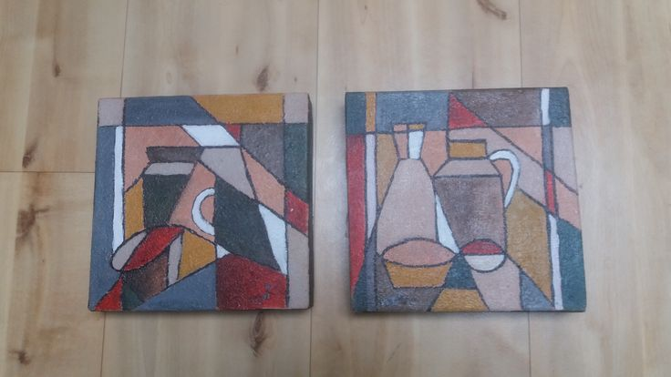 Laatst toegevoegde werken op www.vriendenvankunst.nl. http://vriendenvankunst.nl/product/kubisme/ 2 luik ieder 30x30 acryl opgezet uit vele lagen