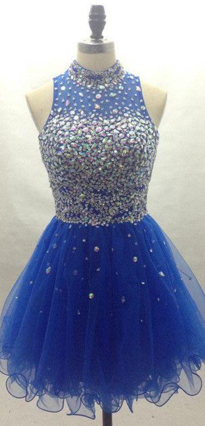 #royalblue #tulle #short #shortpromdress #homecomingdress #cocktaildresses…