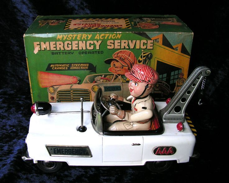 Rare Emergency Service AAA Mystery Action Tow Truck c1958 Japanese B/O Tin Toy