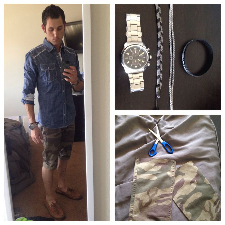 WIWT  BKE Tailored fit buttondown shirt Fossil belt Docker camo pants, cropped to shorts Sperry Top Siders Citizen ecodrive Braided bracelets Ej1ownersclub.com wristband  What I wore today! Follow! (Officialkaelin)