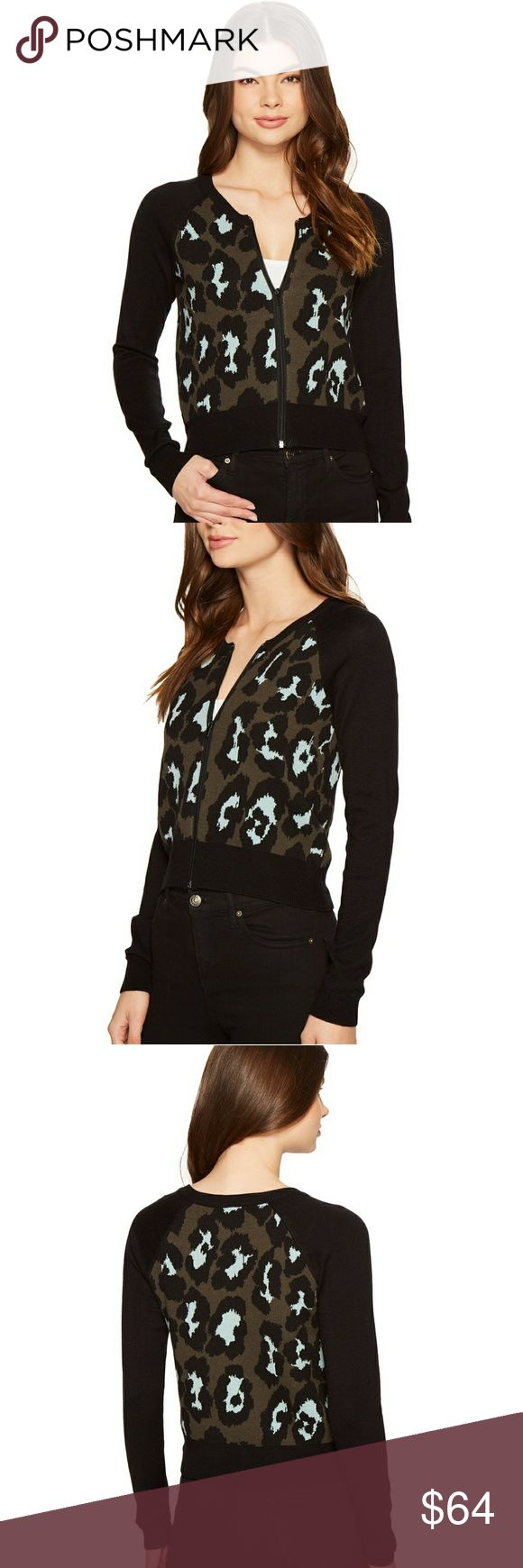 """ROMEO AND JULIET Animal Print Zip Crop Cardigan NWT - ROMEO AND JULIET Animal Print Knit Zip Crop Cardigan. SIZE M. Blue and olive animal print body and solid black raglan sleeves. Ribbed black trim.Front zip crop cardigan.  Bust: 17.5"""" (laying flat) Waist: 15"""" (laying flat) Length from top to botton:19.5"""" Sleeve length from shoulder to edge:23.5"""" Romeo & Juliet Couture Sweaters"""