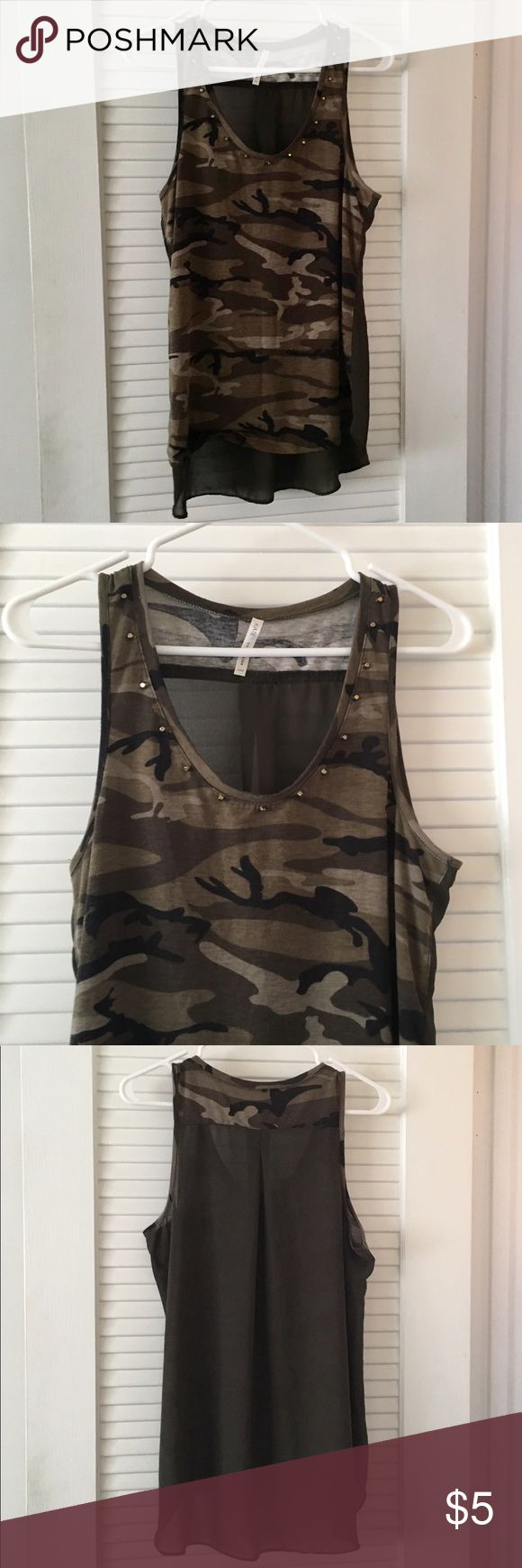 Camo tank top Camo print tank top with metal detail on the collar Tops Tank Tops
