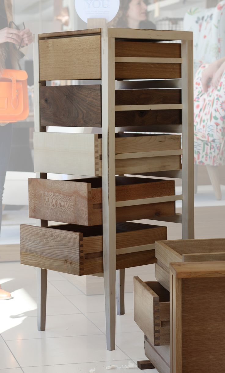 Ten Species Tallboy | The Wood Awards - beautiful open-sided drawer unit displaying various wood species