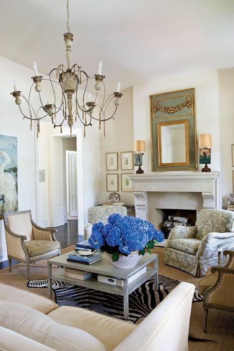 Elegant living room from Southern Living--love the trumeau design!