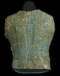 """1450-1470, corazzina, """"armor made of fabric and steel plates worn both on the battlefield and daily under heavy coats or doublets"""" MAESTRO CORAZZAIO CENTROITALIANO (?)Schiena di """"corazzina"""" o """"brigantina"""" secolo XV, 1450-1470 ca. acciaio, ottone, tela di canapa azzurraCerreto Guidi, Museo Storico della Caccia e del TerritorioInv. Bd. n. 12922"""