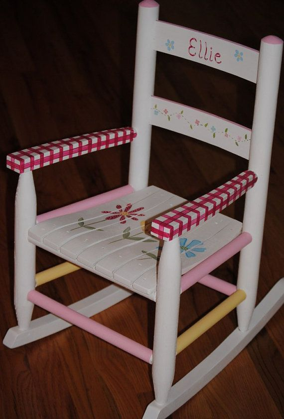 Images Of Hand Painted Childrens Chairs | Items Similar To Childrens  Rocking Chair Hand Painted On