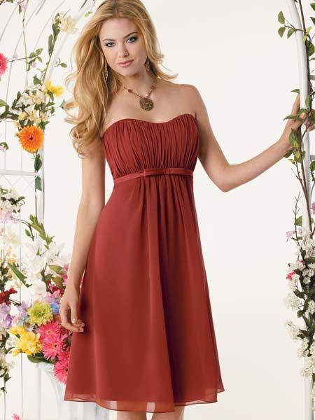 I like the cinnamon color for fall wedding! short fall bridesmaid dresses  | bridesmaid orange dresses, short orange jr bridesmaid dresses, burnt ...