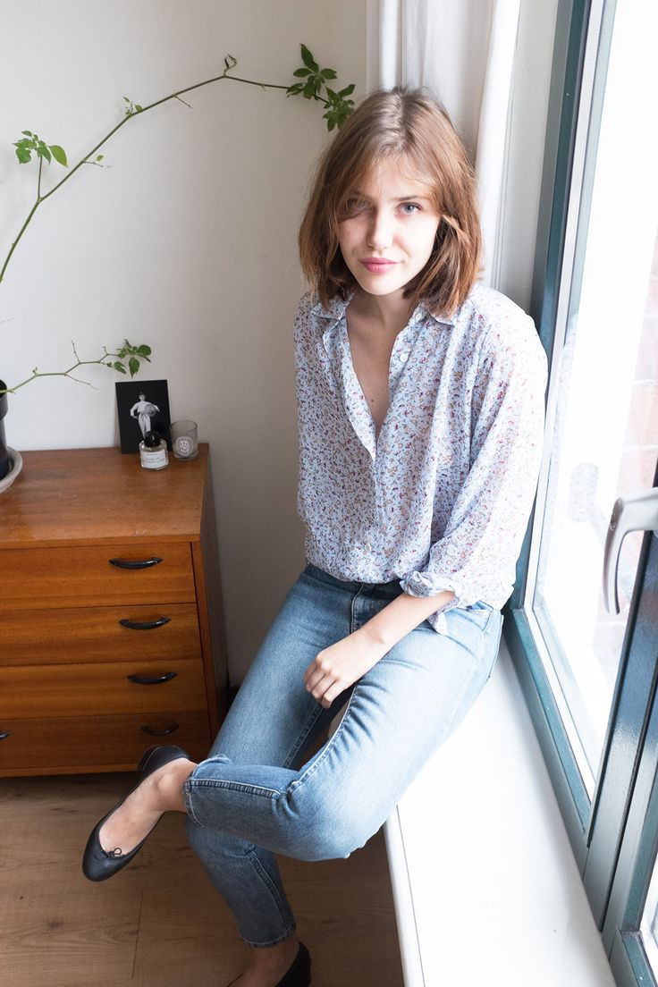 Floral blouse and A.P.C. Etroit Court Jeans by Sartreuse