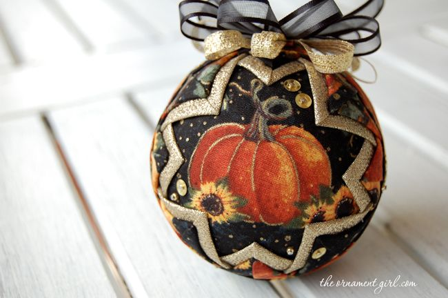 beautiful fall pumpkin quilted ornament