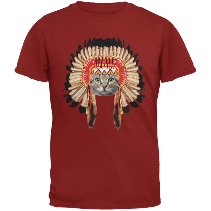 Thanksgiving Funny Cat Native American Gold Youth T-Shirt