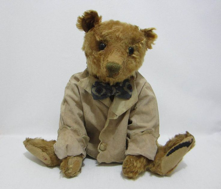 "STEIFF Antique 20"" Teddy Bear Apricot Dressed Early Jacket Mod Bow Tie #Steiff"
