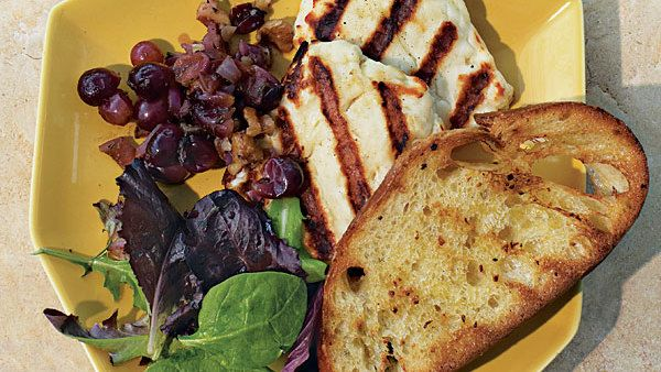 Grilled Halloumi with Rosemary-Grape-Walnut Relish and Garlic Bread - FineCooking